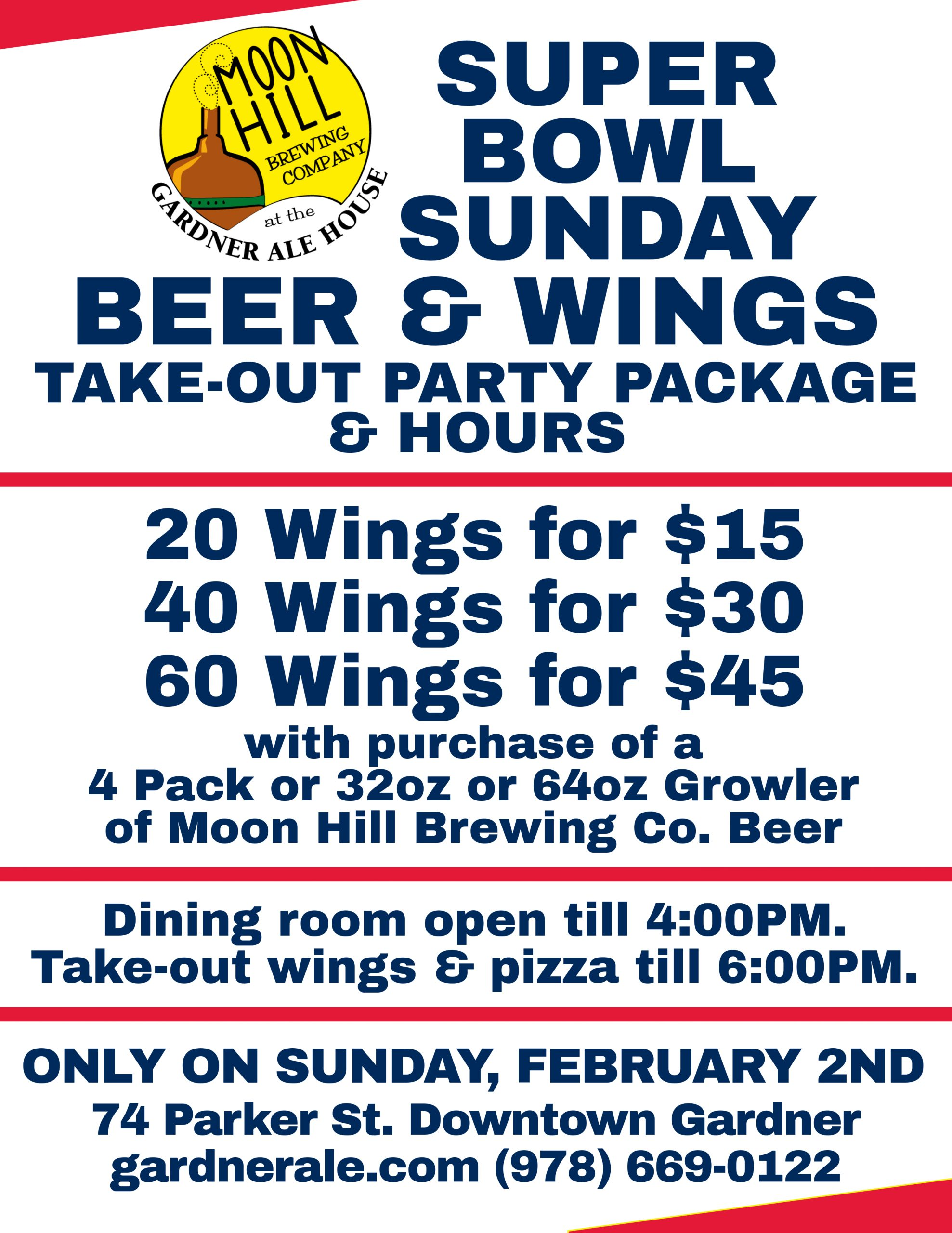 Super Bowl Sunday Special Hours and Beer & Wing Take-Out Party Package